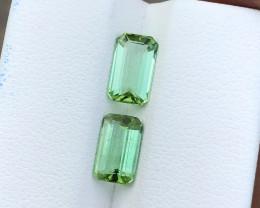 2.80 Ct Natural Green Transparent Tourmaline Gemstones Pairs