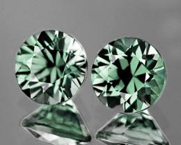 3.80 mm Round 2 pcs Unheated Green Sapphire [VVS]