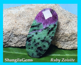 62ct 44mm Ruby Zoisite cabochon oval faceted 44 by 21 by 8mm Ruby Zoisite a