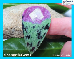63ct 46.5mm Ruby Zoisite cabochon drop pear faceted 46.5 by 28 by 5mm Ruby