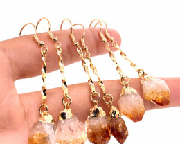 Heart Design Citrine Raw Set Earrings & Pendant - BR 1368