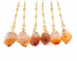 Heart Design Citrine Raw Set Earrings & Pendant - BR 1369