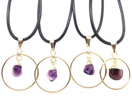 Parcel 4 x Amethyst Lovers Tumbled Pendants - BR 1379