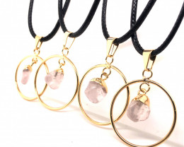 Parcel 4 x Rose Quartz Lovers Tumbled Pendants - BR 1380