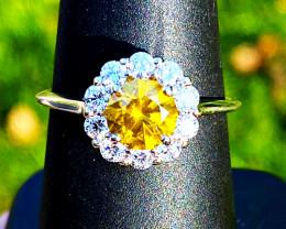 *$13,000* 1.08 Ct Yellow Diamond Ring - 14k White Gold