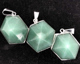 3 X Geometric Aventurine Lovers Pendants - BR 1439