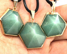 3 X Geometric Aventurine Lovers Pendants - BR 1441
