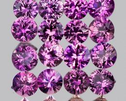 2.00 mm Round 25pcs 1.08cts Unheated Purplish Pink Sapphire [VVS]