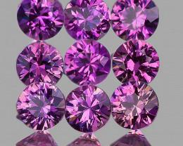 2.80 mm Round 9pcs Unheated Purplish Pink Sapphire [VVS]