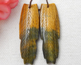 New design natural gemstone Tiger Eyes carved Feather shaped earrings bead