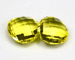 Lemon Quartz 22.19Ct 2Pcs Natural Brazilian VVS Lemon Quartz ER04
