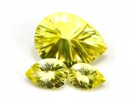 Lemon Quartz 13.20Ct 3Pcs Natural Brazilian VVS Lemon Quartz ER05