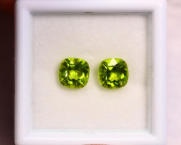 2.10cts Natural Apple Green Colour Peridot Pair / BIN320