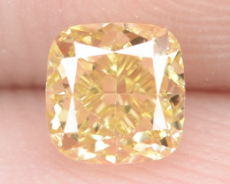 0.48 Carat Untreated Natural Fancy Intense Yellow Color Diamond