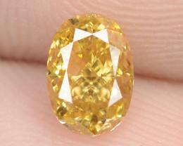 0.53 Carat Natural Fancy Vivid Yellow - Orage Color Diamond VS1