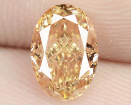 0.82 Carat Untreated Natural Fancy Vivid Orange Color Diamond VS1