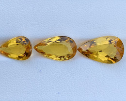 10.76 CT Heliodor Gemstones 3Pc parcels