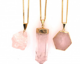 Beautiful & Natural 3 Rose Quartz Pendants - BR 1459