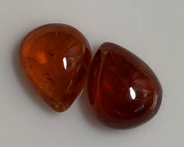 Deep Orange Hessonite Garnet Pear Pair - No Reserve