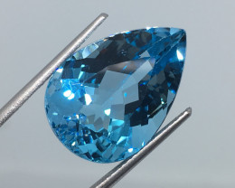 17.47 Carat VVS Topaz Swiss Blue Pear Amazing Color and Polish !