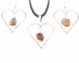 Heart Design Citrine Raw Set Earrings & Pendant - BR 1488
