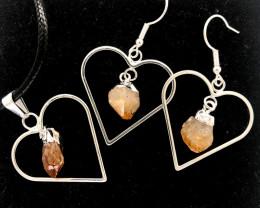 Heart Design Citrine Raw Set Earrings & Pendant - BR 1489