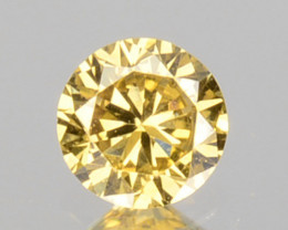0.09 Cts Natural Untreated Diamond Fancy Yellow 2.7mm Round Cut Africa