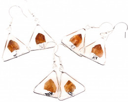3 x Earth Triangle Design Raw Gemstone Earrings - BR 1497