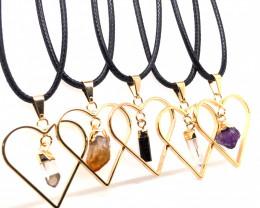 5 x Heart Designs Raw Crystal, Amethyst, Citrine, Tourm Pendants - BR 1511