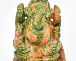 Genuine 1890.00 Cts Blood Green Unakite Carved Ganesha Idol