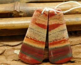 Red Jasper pair natural matching gemstone beads (G1822)