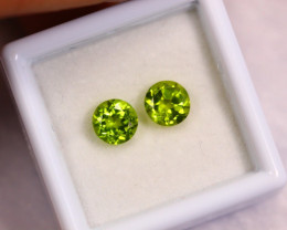 1.97cts Natural Apple Green Colour Peridot Pair / BIN351