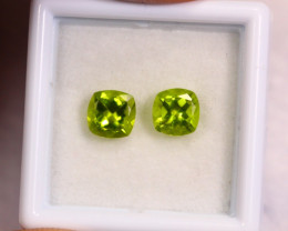 1.97cts Natural Apple Green Colour Peridot Pair / BIN353