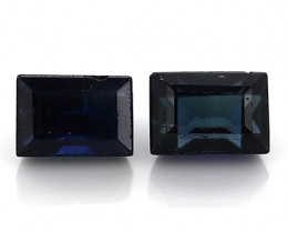 0.38 Carat Pair of Baguette Sapphires: Deep Darkish Blue
