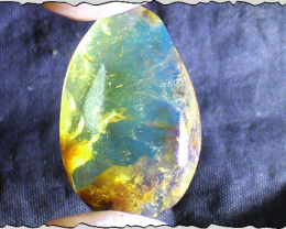 Charming Design Dominican Natural Clear Sky Blue Amber Oval Cabochon polish