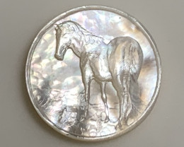 Mother of Pearl Horse Carved Cameo Shell Miniature