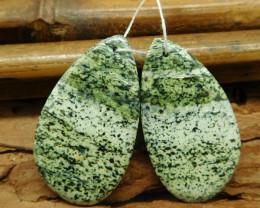 Green zebra pair natural green beads (G1827)