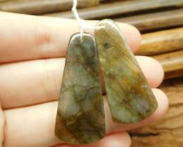 Natural labradorite pair gemstone bead (G1828)
