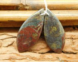 Dragon bloodstone pair gemstone diy earring bead (G1832)