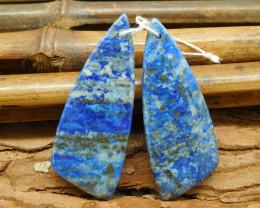 Natural pair lapis lazuli gemstone beads (G1833)