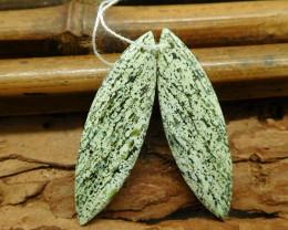 Green zebra gemstone pair green beads (G1834)