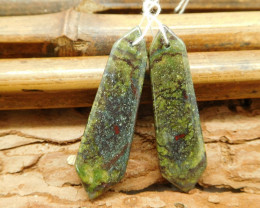 Natural bloodstone pair gemstone jewelry (G1841)