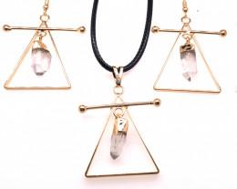 Raw Crystal Triangle Earth symbol - 3 pc set - BR 1534
