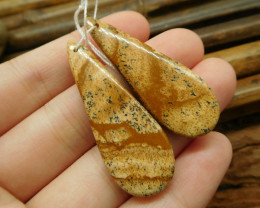 Picture jasper gemstone jewelry pair bead (G1847)