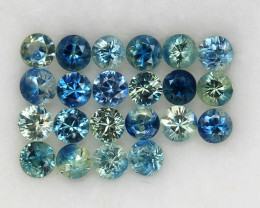 3.97 ct.3.2-3.4MM.DIAMOND CUT MULTI COLOR SAPPHIRE NATURAL GEMSTONES 22PCS.