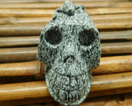 Snowflake Obsidian gemstone carving natural decoration skull (S006)