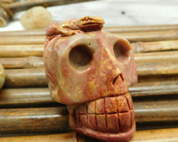 Red creek jasper natural skull carving gemstone (S007)