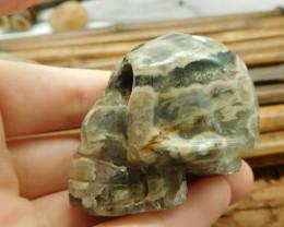 Ocean jasper gemstone carving skull decoration (S016)