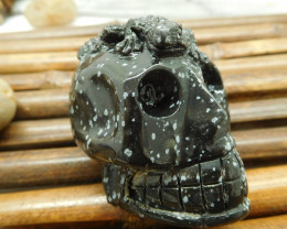 Snowflake obsidian carving skull with lizard (S021)