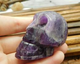 Carving purple gemstone skull decoration (S024)